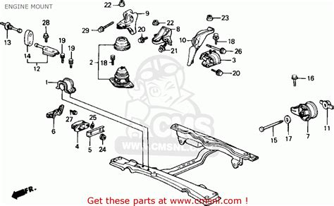 1989 Honda Accord Engine Diagram by Honda Accord 1989 2dr Sei Ka Kl Engine Mount Schematic