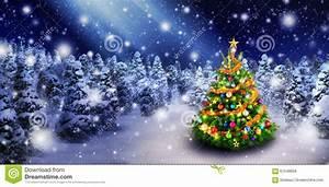 Christmas Tree In Snowy Night Stock Photo - Image: 61548858