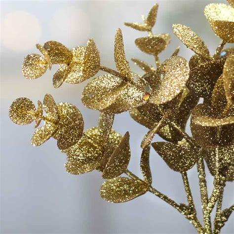 gold glittered artificial eucalyptus stem christmas