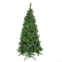 7 ft pre lit single plug slim mount beacon artificial christmas tree multi function led lights