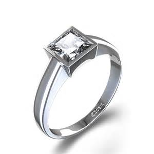bezel set engagement rings tapered princess cut bezel set engagement ring in 14k white gold