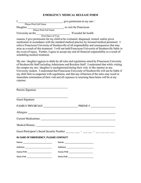 18606 emergency release form outstanding emergency release form pictures simple