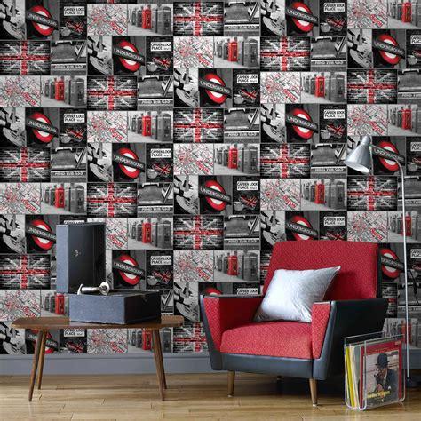 Tapisserie Londres by Papier Peint Papier Travel Gris Leroy Merlin