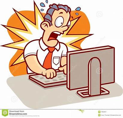 Computer Cartoon Guy Stress Clipart Stressed Problems