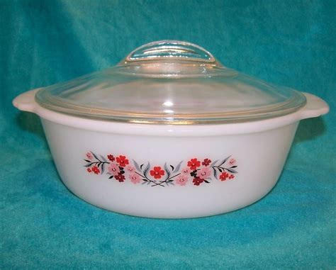 fire king casserole dish glass primrose quart covered milk