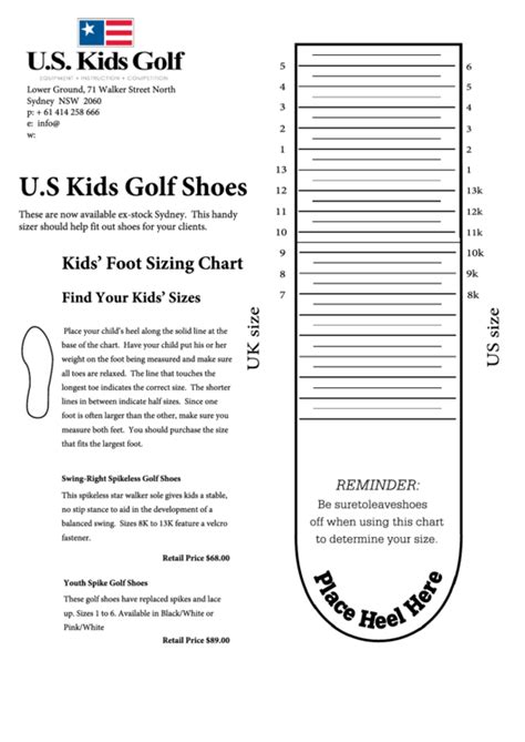 kids golf shoes size chart printable