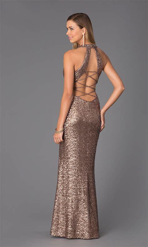 long sleeveless corset  sequin dress promgirl
