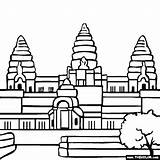 Temple Hindu Coloring Angkor Wat Cambodia Pages Buddhist Famous Drawing Places Colouring Cambodian Temples Thecolor Drawings Largest Religious Landmarks History sketch template