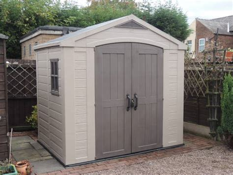factor large resin outdoor storage shed 8x6 taupe beige keter target