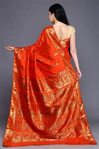Orange Baluchari Silk Saree With Blouse Piece