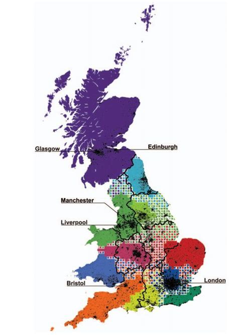 redrawing  map  great britain based  human interaction