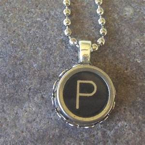 vintage typewriter key necklace the letter p all letters With typewriter letter jewelry
