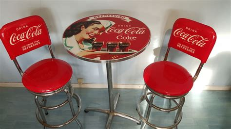 Sgabelli Coca Cola by Authentic Coca Cola Pub Set Quot Of Two Stools With Table