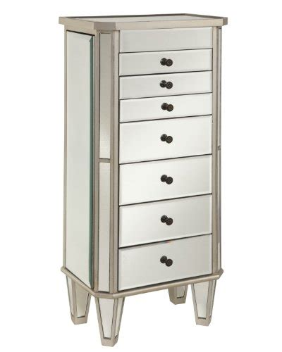 Mirrored Jewelry Armoire With Silver Wood Finish Beauty