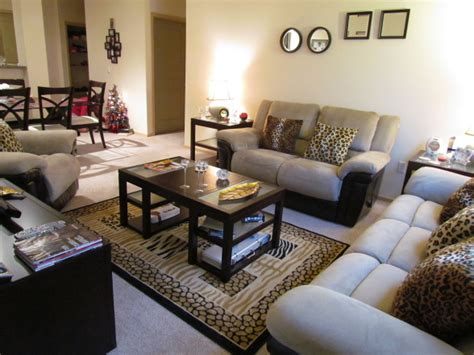 Living Room Accented With Cheetah Print Throw Pillows And