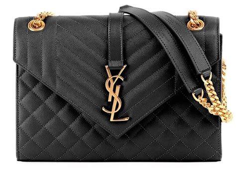 saint laurent envelope  quilted monogram ysl purse black leather cross body bag tradesy