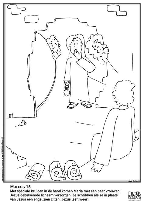 Kleurplaat Jezus Bij Pilatus by Pasen De Steen Is Weg Bijbelse Kleurplaten