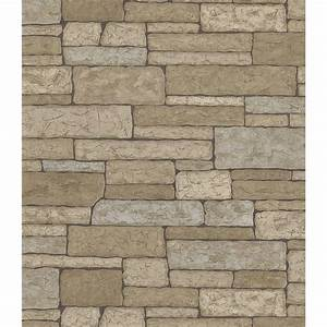 Brewster Northwoods Lodge Gray Stone Wall Wallpaper Sample ...