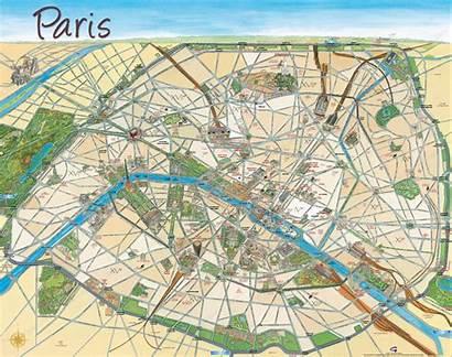 Paris Carte Parigi Dessin Cartine Dessinee Mappe