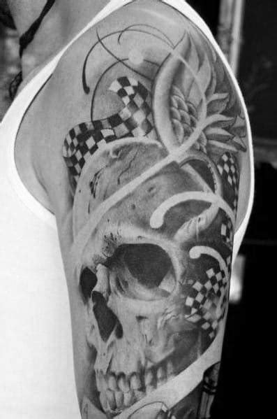 40 Checkered Flag Tattoo Ideas For Men - Racing Designs