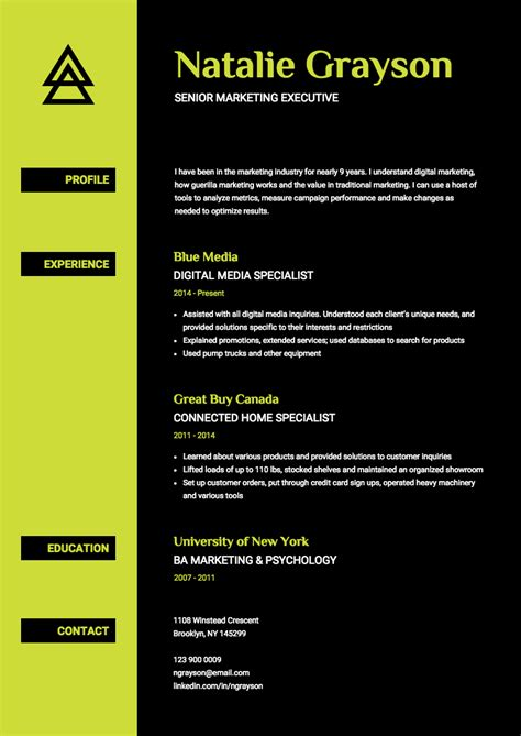 Cv Onl by Neon Resume Template Venngage