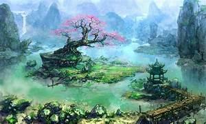 mountains, cherry blossoms, trees, rocks, pier, fantasy