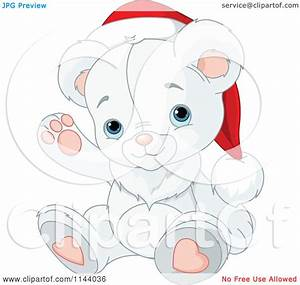 Cartoon Of A Cute Christmas Teddy Polar Bear Waving And ...