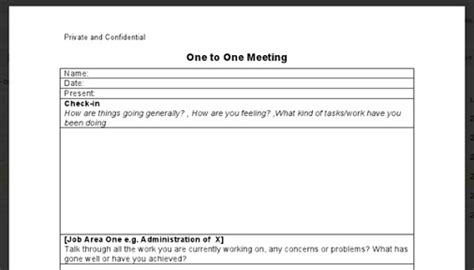 one on one meeting templates for word just need a simple one to one employee line manager template here is a free