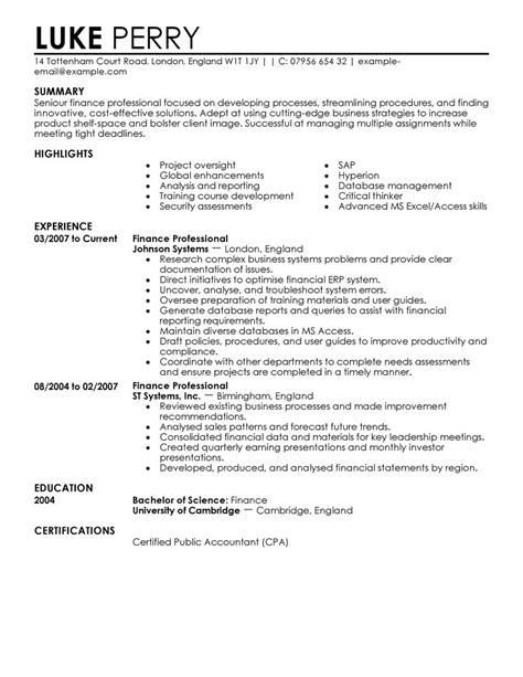 Finance Resumes by Finance Resume Exles Finance Resume Sles Livecareer