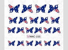 AUSTRALIAN FLAG Butterfly Nail Water Transfer Decal