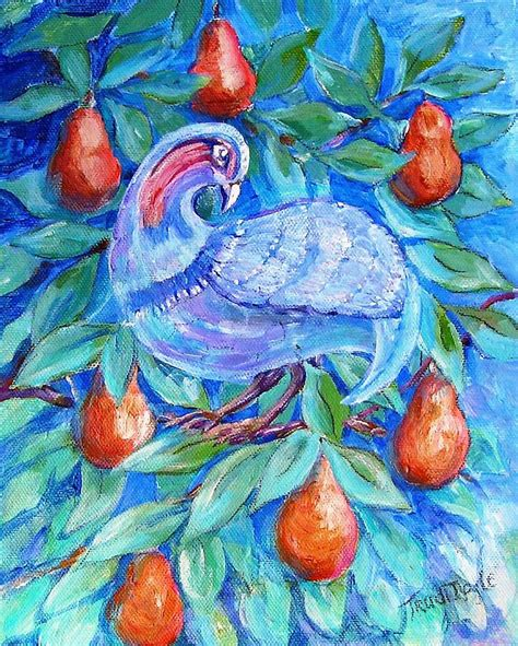 partridge in a pear tree painting by trudi doyle