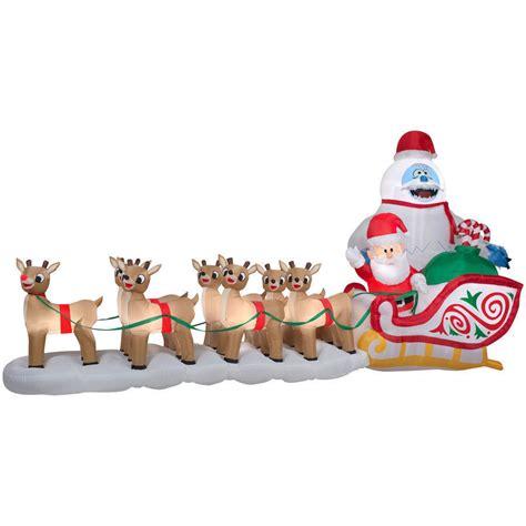 santa reindeer inflatable santa rudolph reindeer bumble sled sleigh airblown 16 5 ft ebay