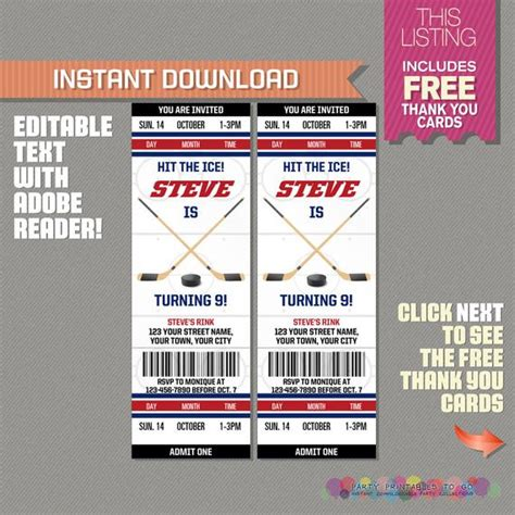 birthday invitation templates ticket 13 ice hockey ticket invitation with free thank you card ice