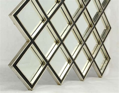 large square 25 mirror quot tiles quot style wood framed mirror at