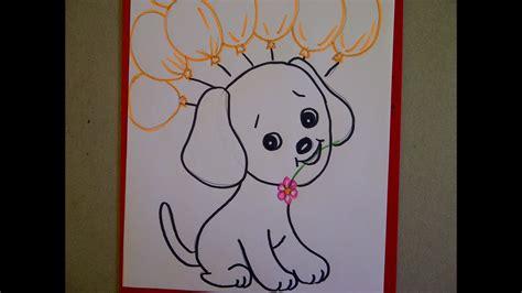 geburtstagskarte mit hund hundewelpen zeichnen ideen