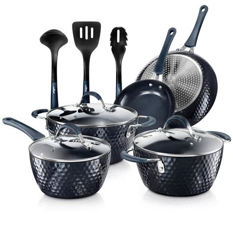 cookware pots pans cooking nutrichef sets kitchen diamond non pan stick nonstick piece excilon ware frying lids pfos elegant aluminum