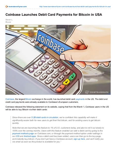 Enter your card information (the address must match the billing address for the card) if needed, add a billing address for the card; COINBASE LAUNCHES DEBIT CARD PAYMENTS FOR BITCOIN IN USA