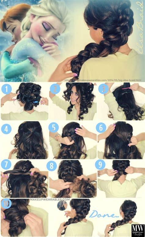 elsa zopf flechten elsa frozen hairstyle hair tutorial how to do a big braid on yourself frisuren