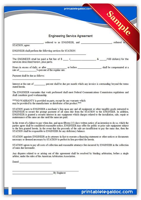Engineering Services Contract Template free printable engineering service agreement form generic