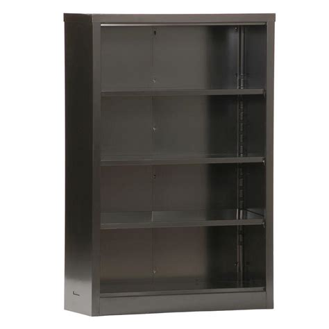 Steel Bookcases by Sandusky Black Steel Bookcase Bq10351352 09 The Home Depot