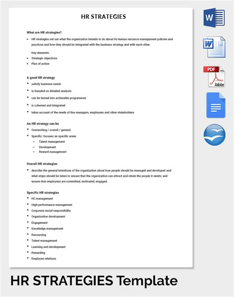Hr Strategic Planning Template by 26 Hr Strategy Templates Free Sle Exle Format