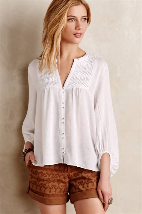 peasant blouses maeve pintuck peasant blouse in white lyst