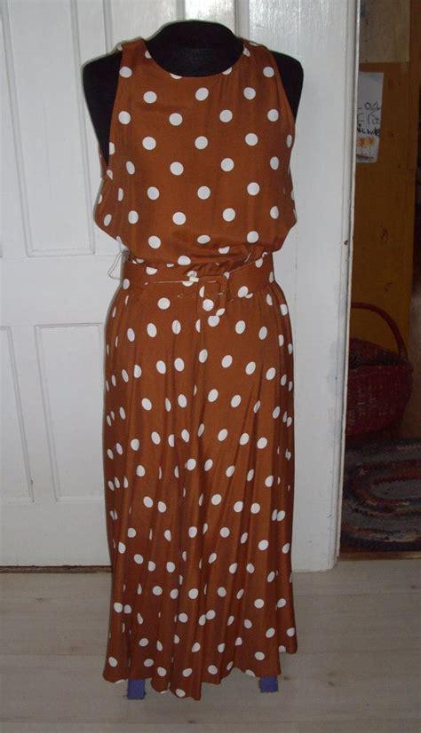 vintage dress brown  white polka dot pretty woman etsy