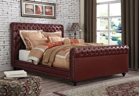 norris upholstered bed  acme  burgundy leatherette