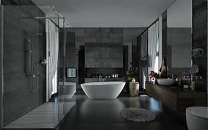 sunlight streams into bathrooms connected to nature With salle de bain design avec vasque en pierre grise