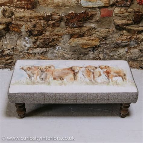 buy voyage maison mya highland cattle footstool tweed