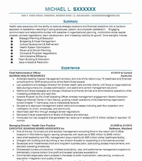 Resume Administrative Officer by Chief Administrative Officer Resume Sle Livecareer