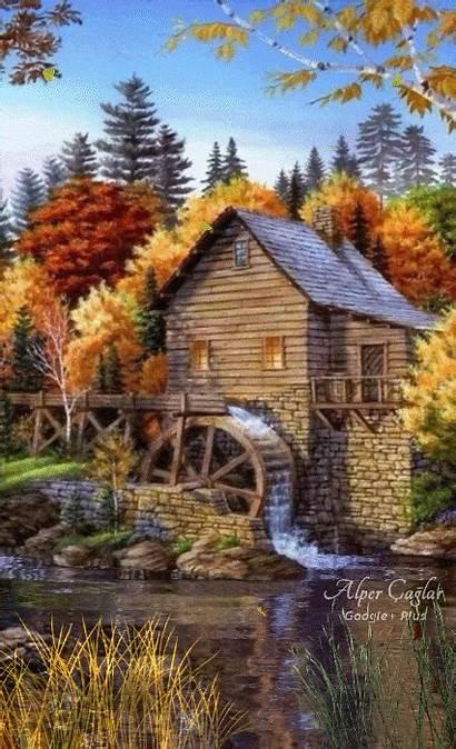 Water Landscape Wheel Landscapes Scenery Paintings Google