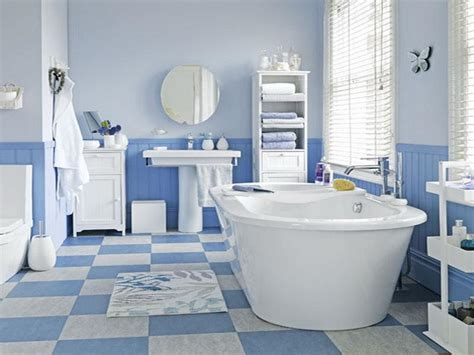 White And Blue Bathroom Floor Covering Ideas  Your Dream Home