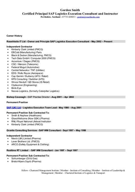 Sap Release Management Resume by Sap Logistics Execution Consultant Cv